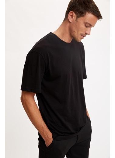DeFacto Oversize Fit Bisiklet Yaka Pamuklu Basic Tişört Siyah